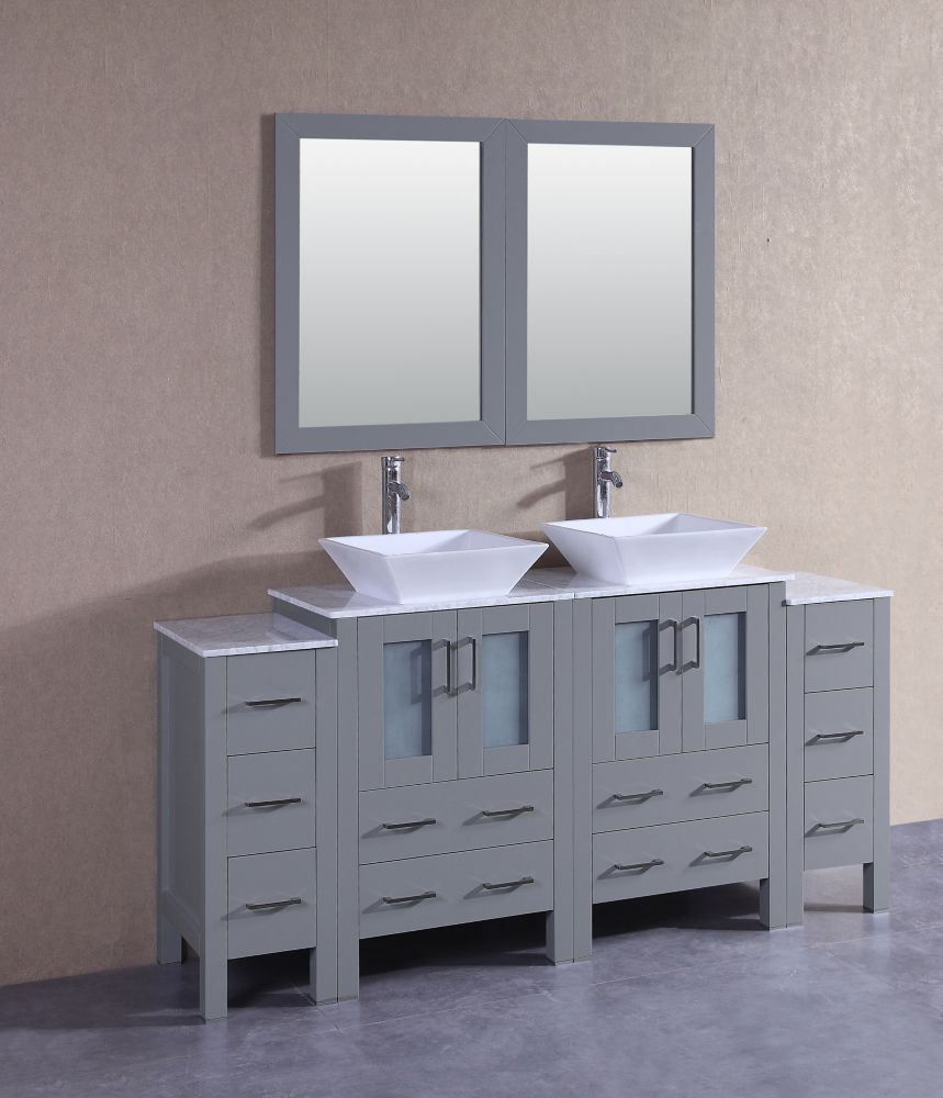 Bosconi 72 inch W x 18 inch D Bath Vanity in Gray with Carrara Marble Vanity Top in White with White Basins and Mirrors