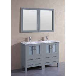 Bosconi 49 inch W x 19 inch D Bath Vanity in Gray with Ceramic Vanity Top in White with White Basins and Mirrors