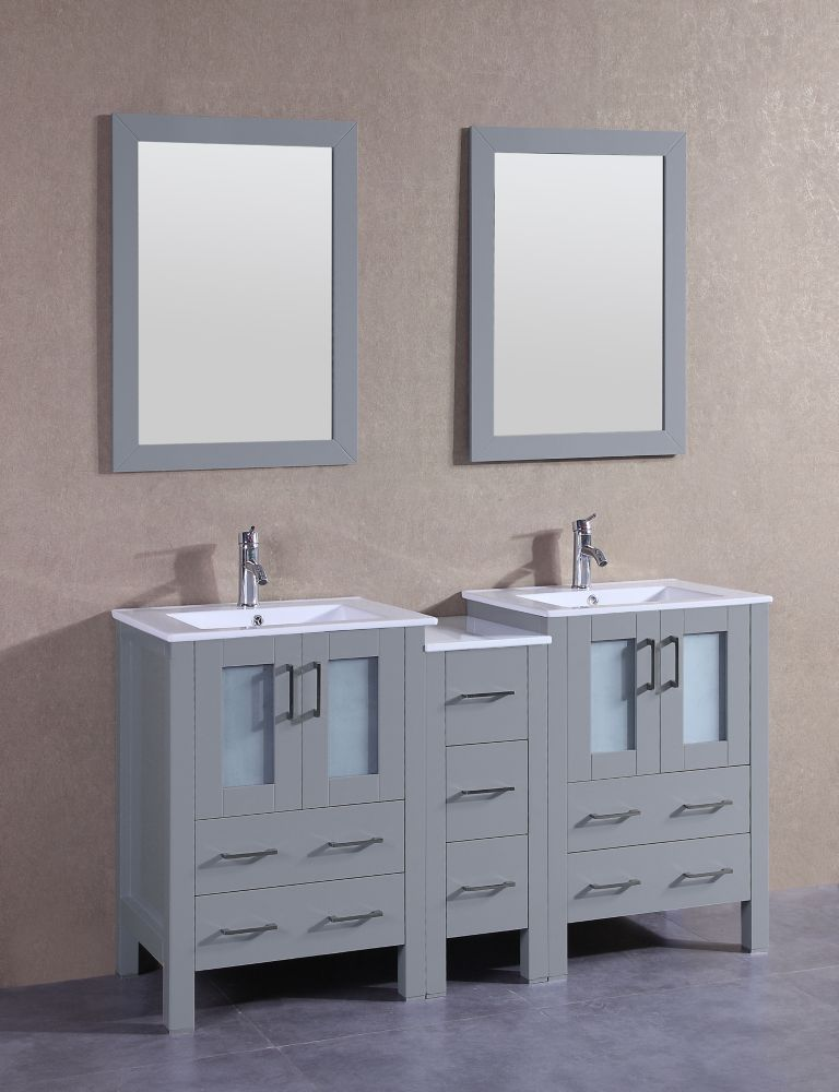 Bosconi 61 inch W x 19 inch D Bath Vanity in Gray with Ceramic Vanity Top in White with White Basins and Mirrors