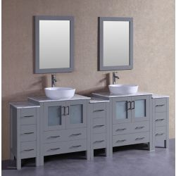 Bosconi 96 inch W x 18 inch D Bath Vanity in Gray with Carrara Marble Vanity Top in White with White Basins and Mirrors