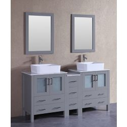 Bosconi 71 inch W x 18 inch D Bath Vanity in Gray with Carrara Marble Vanity Top in White with White Basins and Mirrors