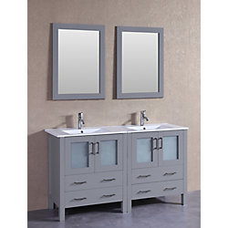 Bosconi 60 inch W x 18 inch D Bath Vanity in Gray with Ceramic Vanity Top in White with White Basins and Mirrors