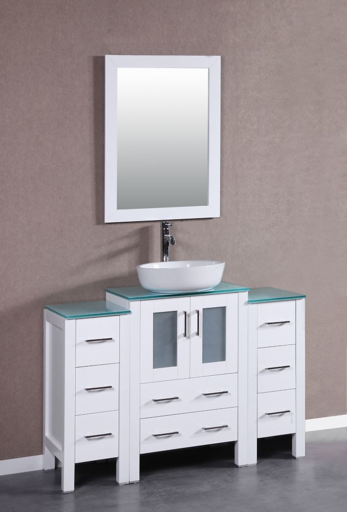 Bosconi 48 inch W x 18 inch D Bath Vanity in White with Tempered Glass Vanity Top in Green with White Basin and Mirror