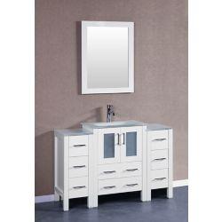 Bosconi 48 inch W x 18 inch D Bath Vanity in White with Tempered Glass Vanity Top in White with White Basin and Mirror