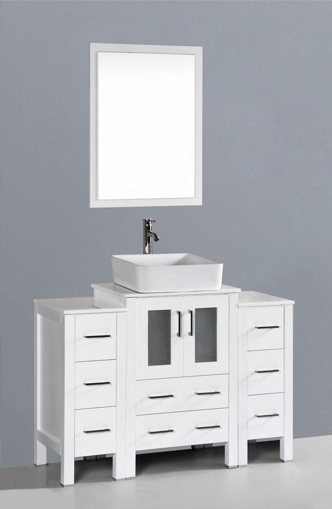 Bosconi 48 inch W x 18 inch D Bath Vanity in White with Pheonix Stone Vanity Top in White with White Basin and Mirror
