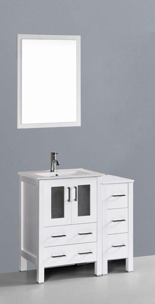 Bosconi 37 inch W x 19 inch D Bath Vanity in White with Ceramic Vanity Top in White with White Basin and Mirror