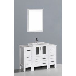 Bosconi 49 inch W x 19 inch D Bath Vanity in White with Ceramic Vanity Top in White with White Basin and Mirror