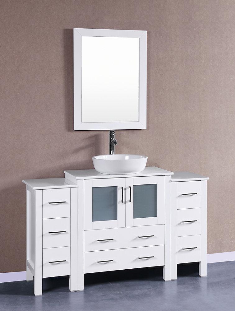 54 in. W x 18 in. D Vanité de Bain en Blanc avec Pheonix Pierre Dessus de  Vanité Blanc bassin et Miroir