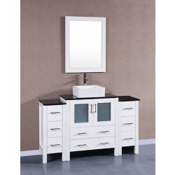 Bosconi 54 inch W x 18 inch D Bath Vanity in White with Tempered Glass Vanity Top in Black with White Basin and Mirror