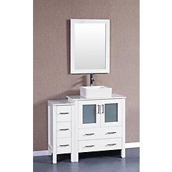 Bosconi 42 inch W x 18 inch D Bath Vanity in White with Pheonix Stone Vanity Top in White with White Basin and Mirror
