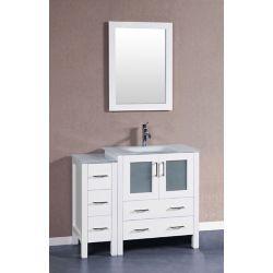 Bosconi 42 inch W x 18 inch D Bath Vanity in White with Tempered Glass Vanity Top in White with White Basin and Mirror
