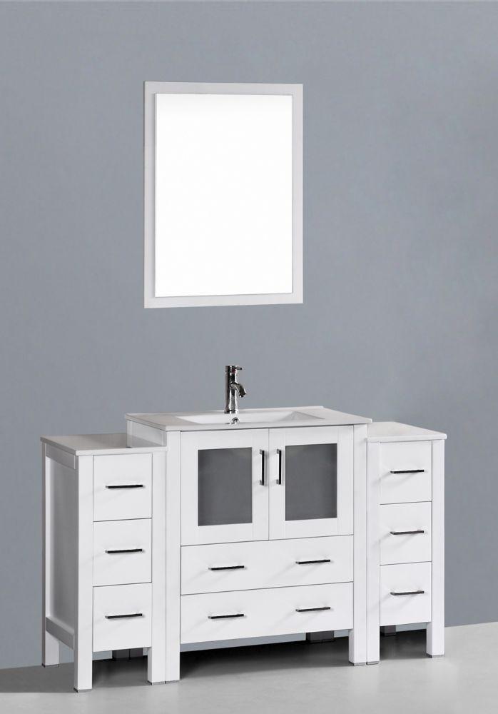 Bosconi 54 Inch W X 18 Inch D Bath Vanity In White With