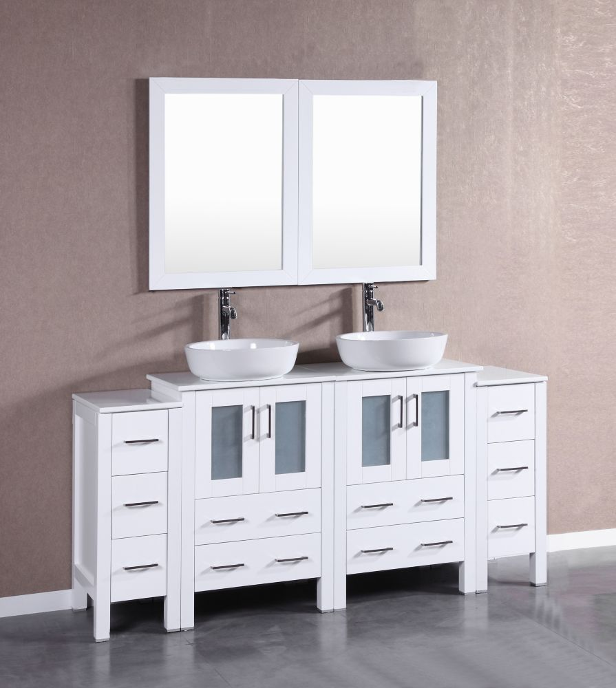 Bosconi 72 inch W x 18 inch D Bath Vanity in White with Pheonix Stone Vanity Top in White with White Basins and Mirrors