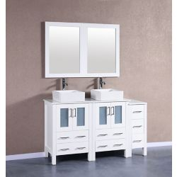 Bosconi 60 inch W x 18 inch D Bath Vanity in White with Pheonix Stone Vanity Top in White with White Basins and Mirrors