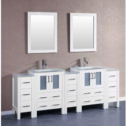 Bosconi 84 inch W x 18 inch D Bath Vanity in White with Tempered Glass Vanity Top in White with White Basins and Mirrors
