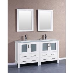 Bosconi 59 inch W x 18 inch D Bath Vanity in White with Tempered Glass Vanity Top in White with White Basins and Mirrors