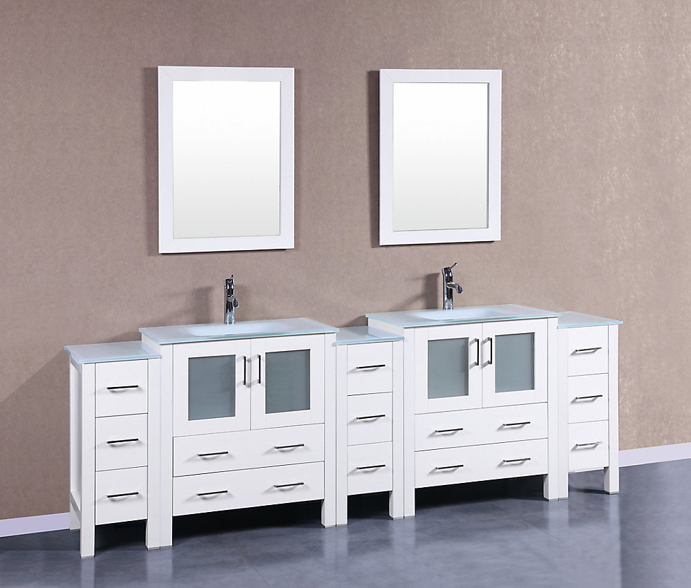 96 Inch Bathroom Vanity Home Depot: 96 Inch W X 18 Inch D Bath Vanity In White With Tempered