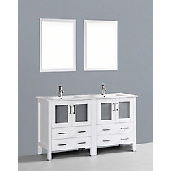 Bosconi 60 inch W x 18 inch D Bath Vanity in White with Ceramic Vanity Top in White with White Basins and Mirrors
