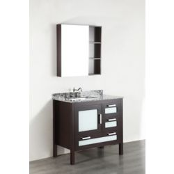 Bosconi 37 inch W x 22 inch D Bath Vanity in Dark Espresso with Waves of Carrara Marble Vanity Top in Grey with White Basin and Mirror