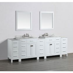 Bosconi 100 inch W x 22 inch D Bath Vanity in White with White Carrara Marble Vanity Top in Gray with White Basins and Mirrors