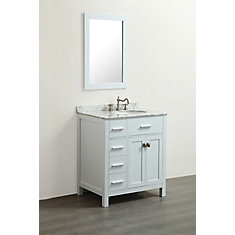 31 inch W x 22 inch D Bath Vanity in White with White Carrara Marble Vanity Top in White with White Basin and Mirror