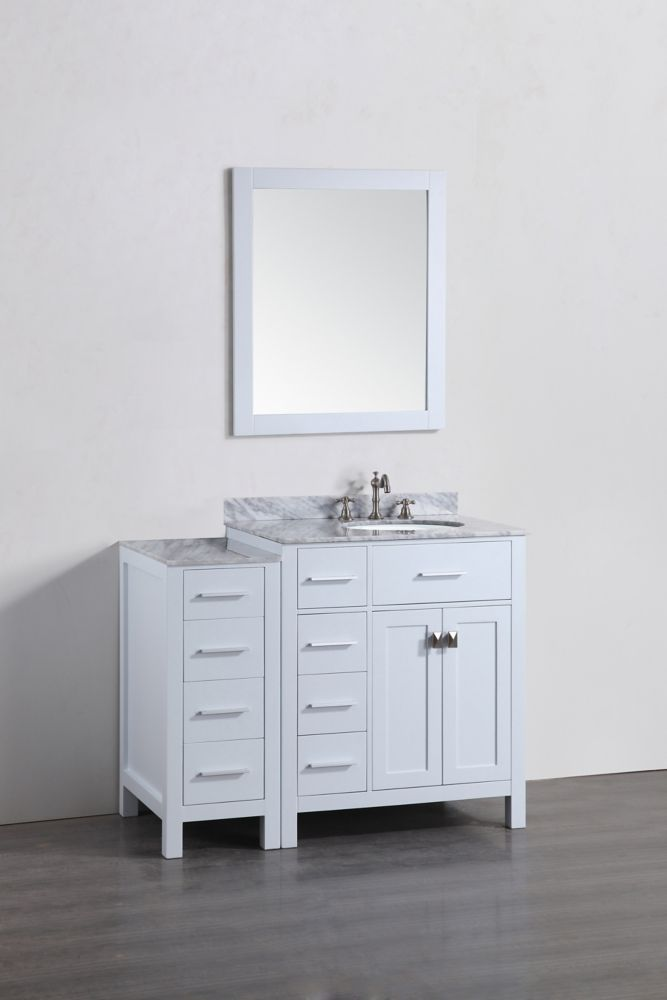 Bosconi 44 Inch W X 22 Inch D Bath Vanity In White With