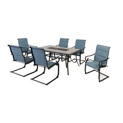 Hampton Bay Crestridge 7-Piece Padded Sling Outdoor Patio Dining Set in Conley Blue