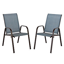 Hampton Bay Plymouth Brown Stackable Sling Patio Dining Chair in Mariner (2-Pack)