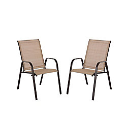 Hampton Bay Wilson Brown Stackable Sling Patio Dining Chair in Cafe (2-Pack)