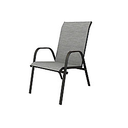 Hampton Bay Plymouth Black Stackable Sling Patio Dining Chair in Wet Cement (2-Pack)