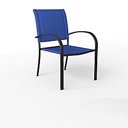 Hampton Bay Wilson Black Stackable Sling Patio Dining Chair in Mariner (2-Pack)
