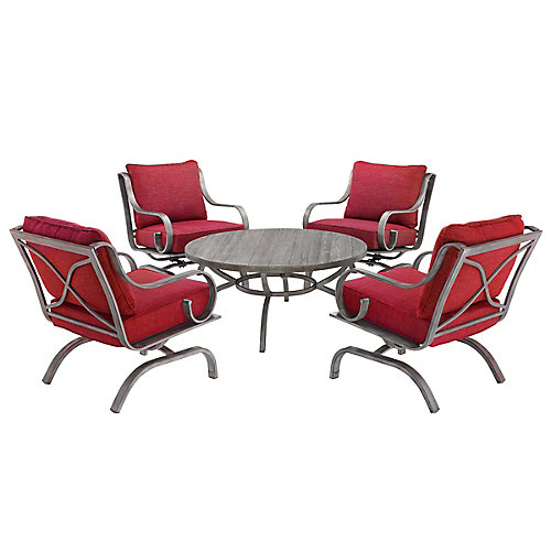 West Palm 5-Piece Cushioned Conversation Set - Red Fabric