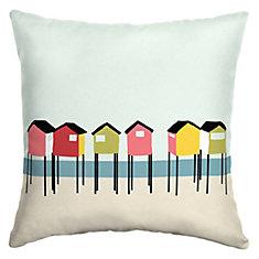 Beach Hut Square Throw Pillow