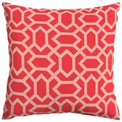 Hampton Bay CushionGuard Ruby Geo Square Throw Pillow
