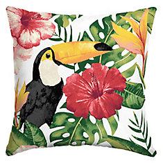 Tropical Toucan Square Throw Pillow