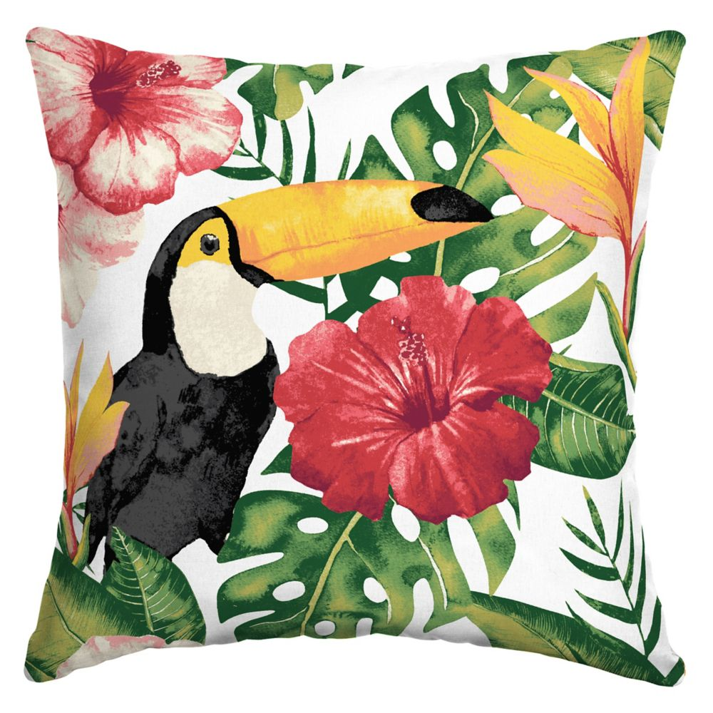 Hampton Bay Tropical Toucan Square Throw Pillow