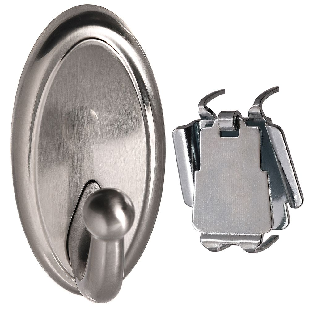 High and Mighty 15 lb. Oval Satin Nickel Metal Hook