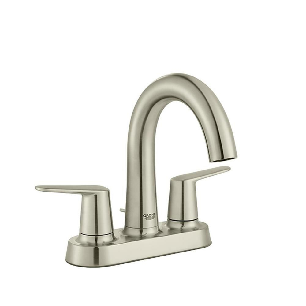 GROHE Veletto 4 inch Centerset Two-Handle High-Spout Bathroom Faucet in Brushed Nickel