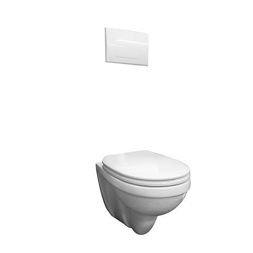 Foremost Concealed tank wall hung dual flush toilet with white push button