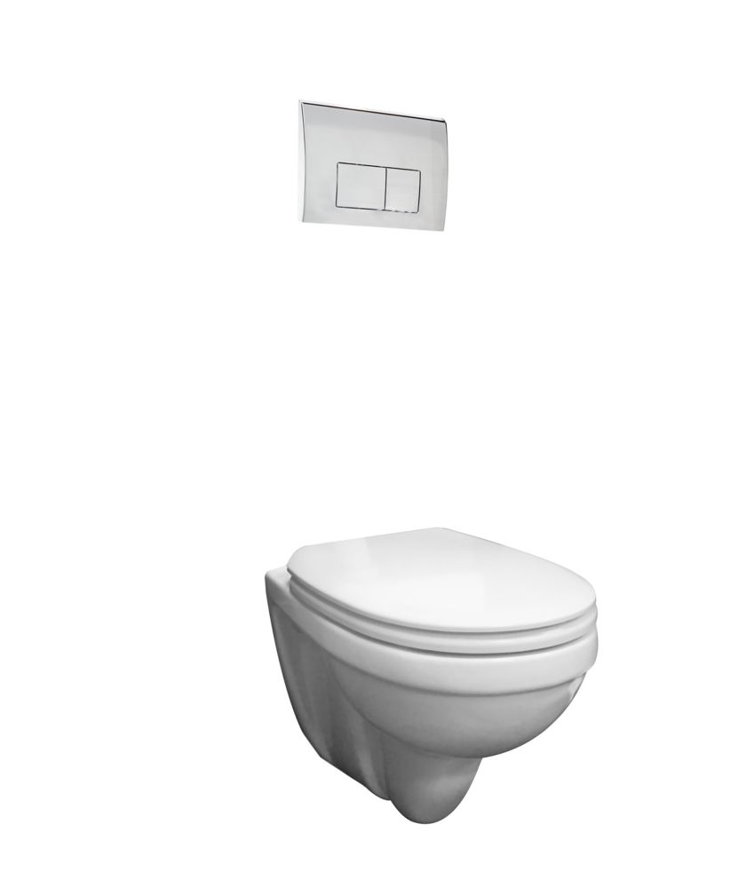 Foremost Concealed tank wall hung dual flush toilet with chrome push button