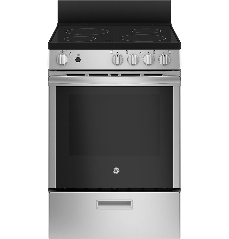 24-inch 2.9 cu.ft Single Oven Electric Range Oven with Steam Cleaning in Stainless Steel
