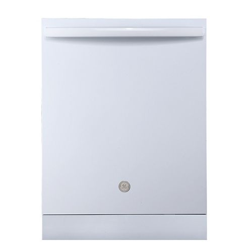 GE Lave-vaisselle à cuve haute encastrée Top Control de 24 po en blanc avec cuve en acier inoxydable