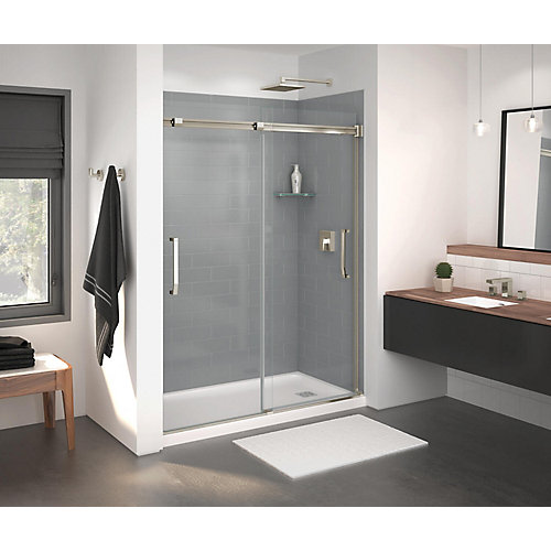 Inverto 56-59 inch x 74 inch Sliding Shower Door in Brushed Nickel