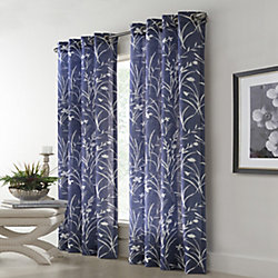 Home Decorators Collection Westport Floral Faux Linen Light Filtering Grommet 52x95 Blue