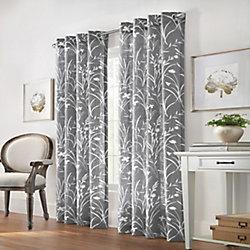 Home Decorators Collection Westport Floral Faux Linen Light Filtering Grommet 52x108 Grey