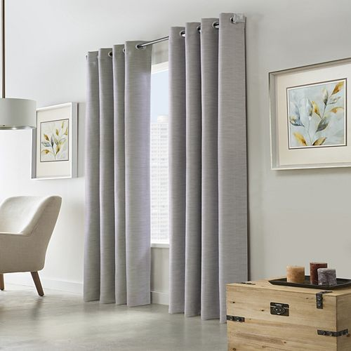 Home Decorators Collection Blake Blackout Grommet Curtain 52 inches width X 108 inches length, Silver