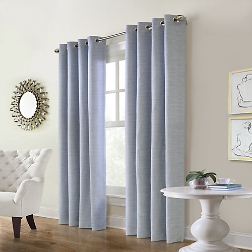 Carnavon Room Darkening Grommet Curtain 52 inches width X 95 inches length, Blue