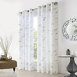 Home Decorators Collection Elgin Botanical Printed Sheer Grommet 52x108 White