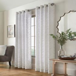 Home Decorators Collection Brighton Geo Sheer Clip Jacquard Grommet 52x63 Silver