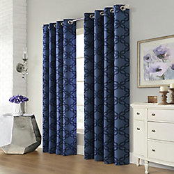 Home Decorators Collection Northampton Printed Oxford Blackout Grommet 52x63 Navy